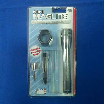 Ліхтарик MagLite +кліп,шнурок,светофил.+2R6 сірий