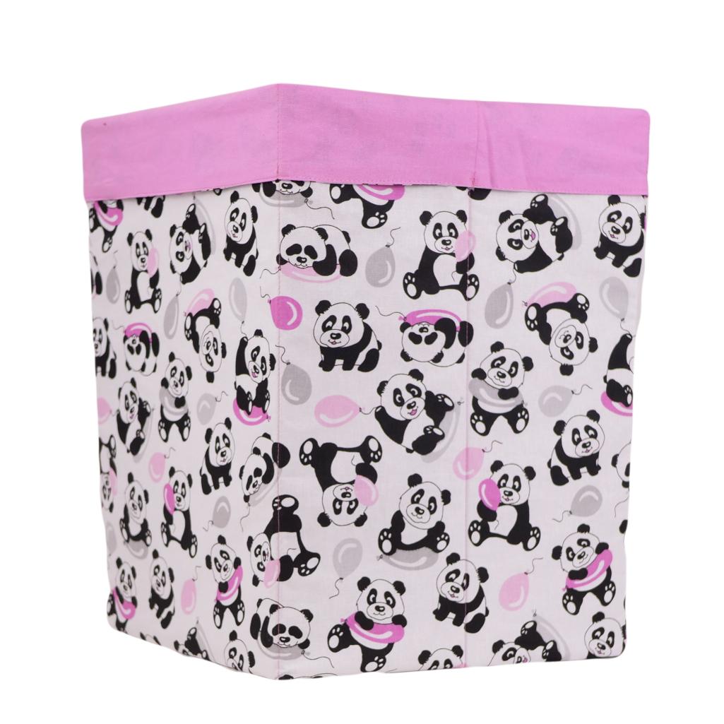 Ящик (коробка) для хранения, 30 * 30 * 40см, (хлопок), с отворотом (панды с шариками / розовый)