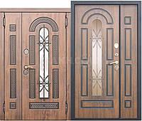Двери входные уличные Vikont 95 мм Vinorit Грецкий орех Патина (1200х2050) (стеклопакет + ковка)