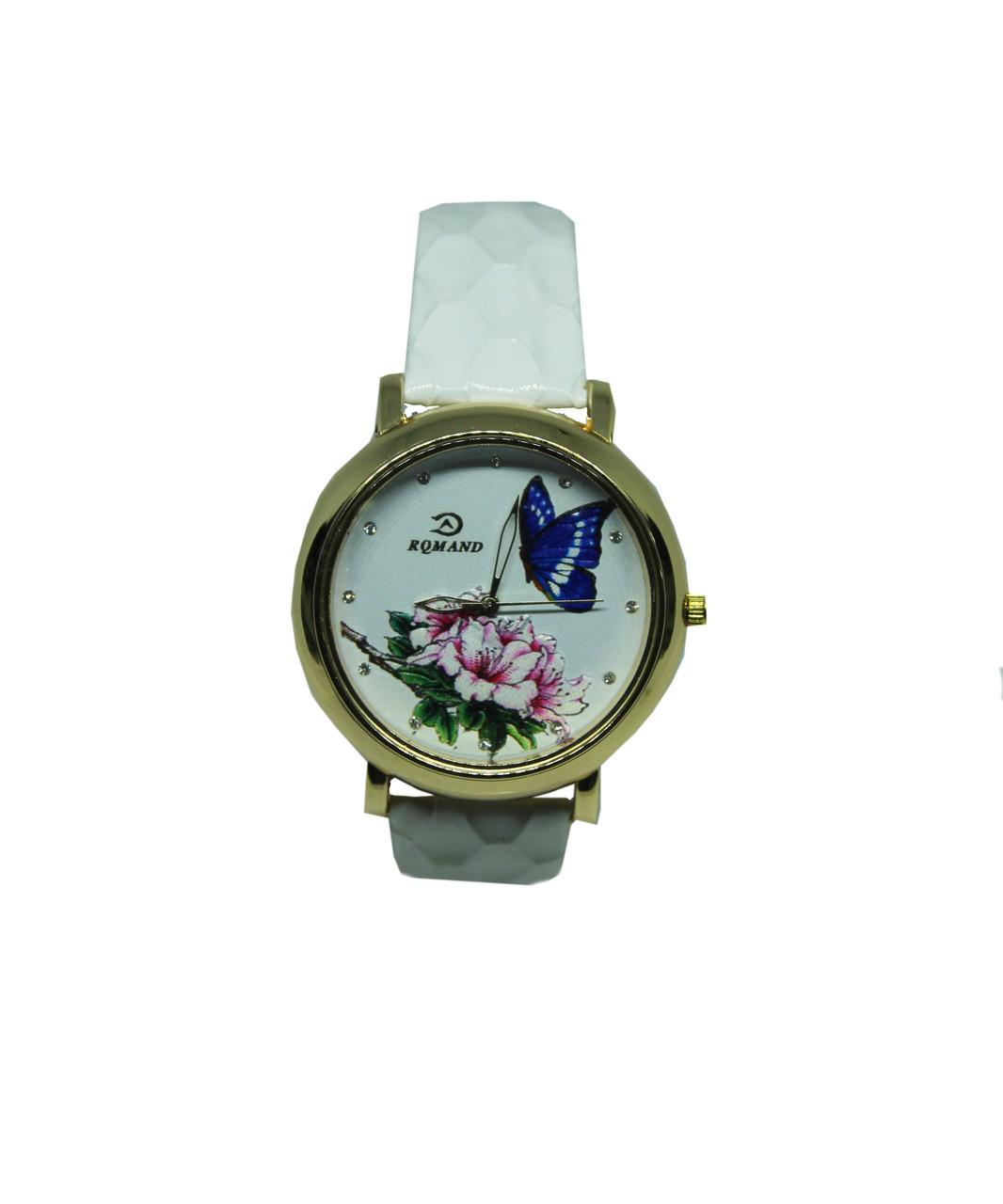 "Часы женские кварцевые ""Бабочка и цветок 6783"" Белый"