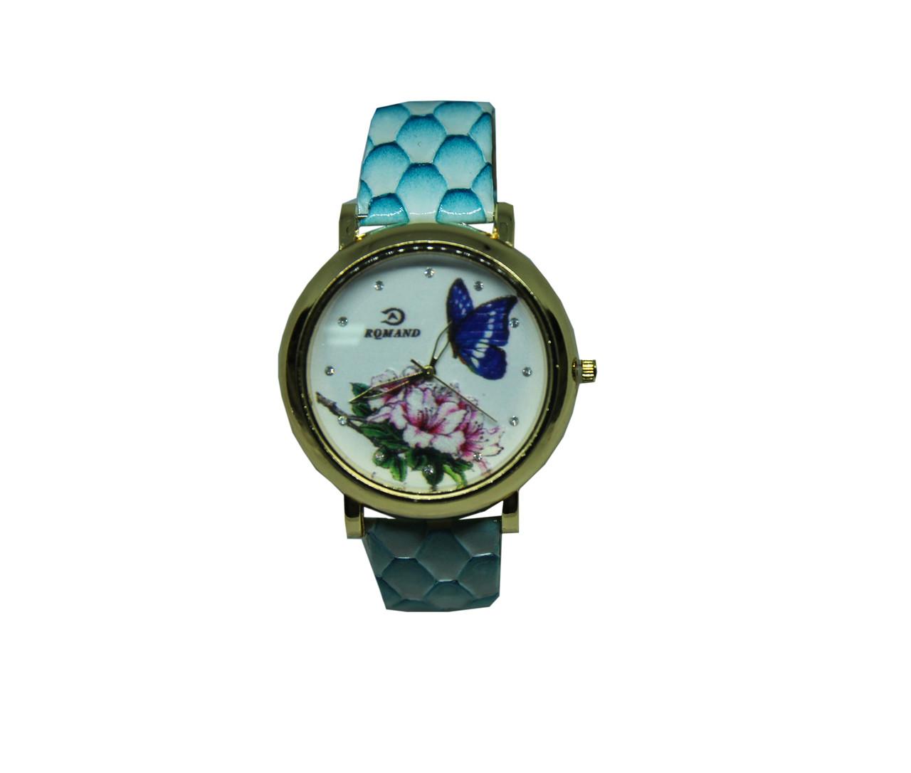 "Часы женские кварцевые ""Бабочка и цветок""  Голубой"