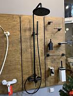 Черная душевая стойка с тропическим душем Bugnatese Kobuk 2236C nero, фото 1