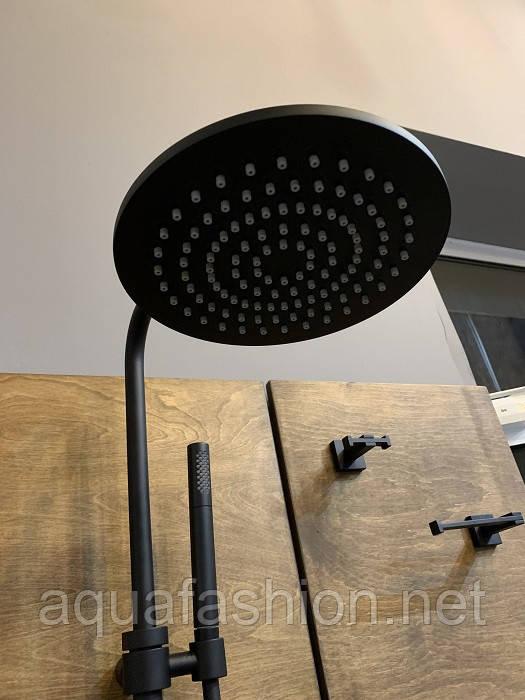 Черная душевая стойка с тропическим душем Bugnatese Kobuk 2236C nero