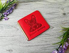 Кошелек зажим женский красный для денег и карточек без застежки ручной работы с тиснением бульдог кожа Украина