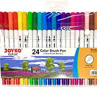 Фломастеры двухсторонние 24 цветов Joyko мягкая кисть CLP-07