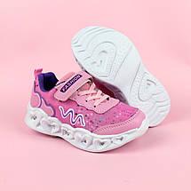 Детские кроссовки с подсветкой для девочки розовые тм Boyang размер 28,29,30, фото 3