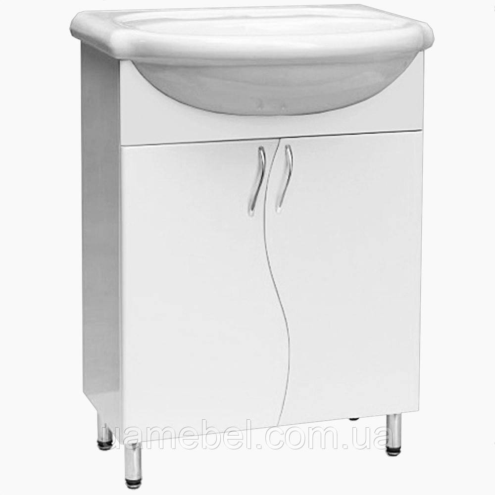 Тумба в ванную белая Т-1 волна (под умывальники от 40 до 90 см)