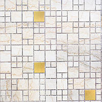Пластиковая Декоративная Панель ПВХ мозаика МРАМОР С ЗОЛОТОМ (955X480) мм
