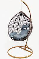 Подвесное кресло-качалка кокон B-183A (коричнево-серое)