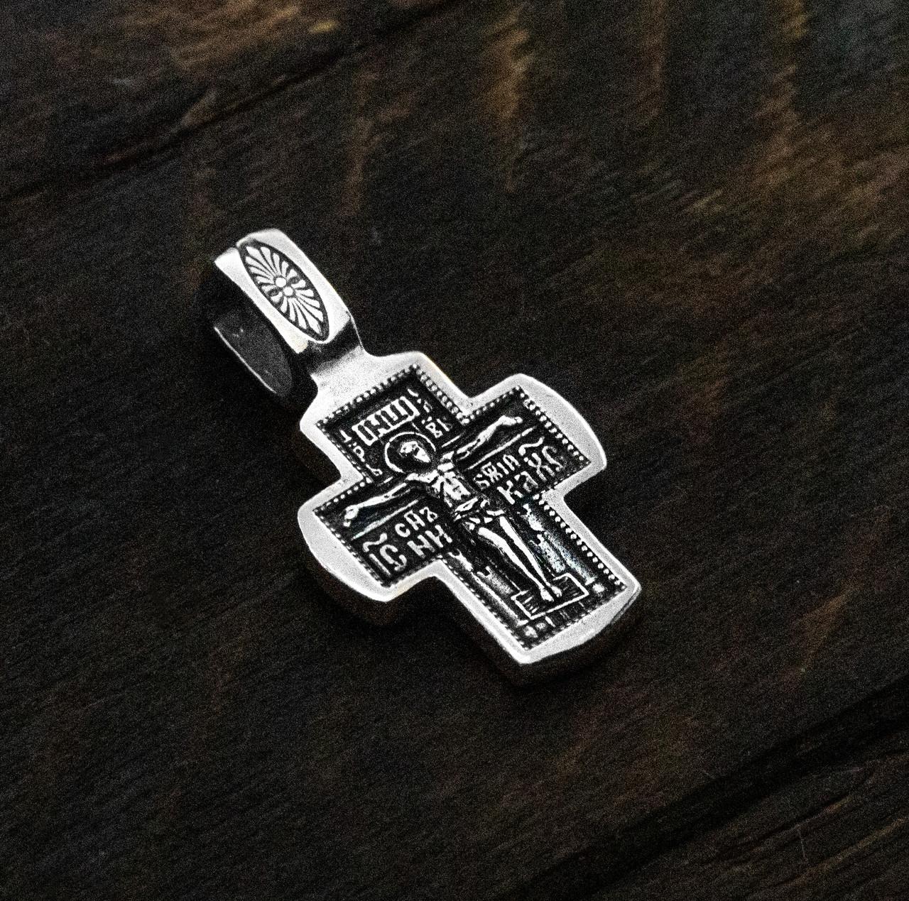 Крест серебряный Распятие Христово. Ангел Хранитель 8605-R