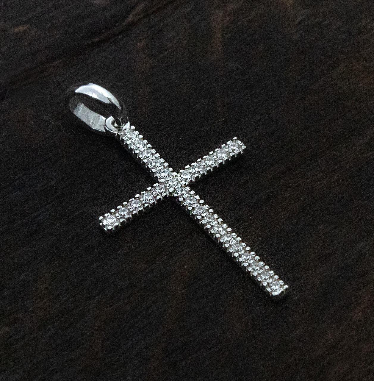 Крест серебряный в камнях  412 010