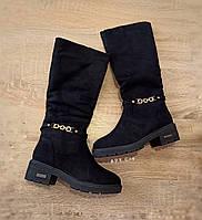 На змійці чобітки високі чорні замшеві замша жіночі зимові чоботи на хутрі на підборах на змійці