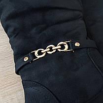 На змейке сапожки высокие черные замшевые замша женские зимние на меху сапоги на каблуке на змейке, фото 2