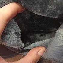 На змейке сапожки высокие черные замшевые замша женские зимние на меху сапоги на каблуке на змейке, фото 3