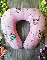 """Автомобильная подушка в дорогу для авто U образной формы """"Совы на розовом """" , 41 см * 34 см"""