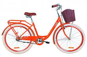 """Велосипед 26"""" Dorozhnik LUX 14G St с багажником зад St, с крылом St, с корзиной Pl 2019 (оранжевый )"""
