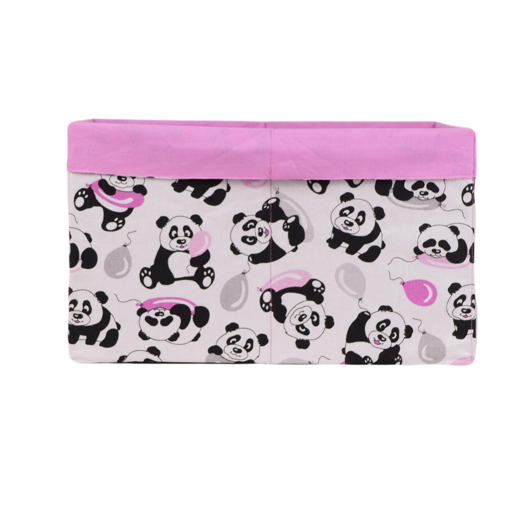 Ящик (коробка) для хранения, 25 * 35 * 20см, (хлопок), с отворотом (панды с шариками / розовый)