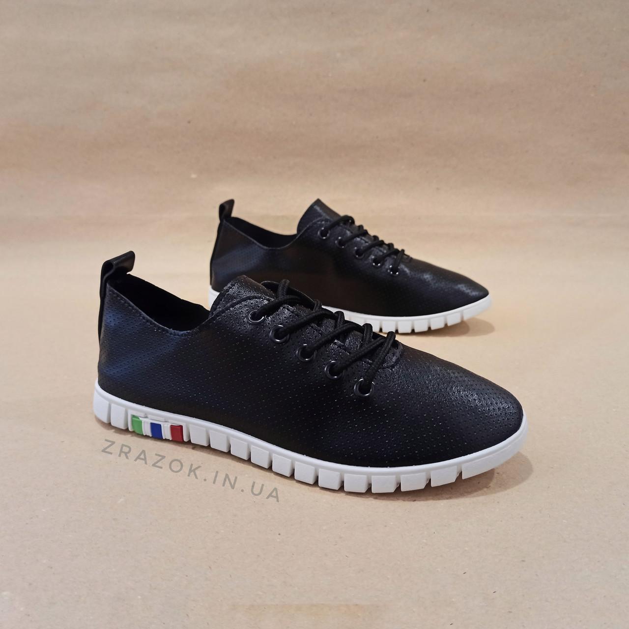 Чорні кросівки еко - шкіра текстиль сліпони мокасини легкі літні дихаючі перфорація на шнурках