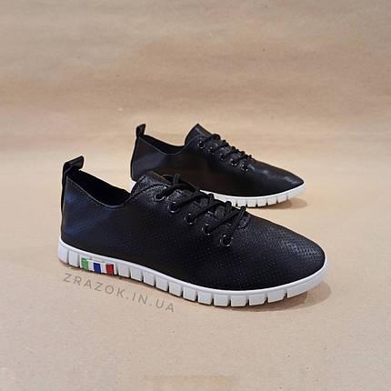 Чорні кросівки еко - шкіра текстиль сліпони мокасини легкі літні дихаючі перфорація на шнурках, фото 2