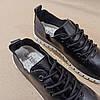 Чорні кросівки еко - шкіра текстиль сліпони мокасини легкі літні дихаючі перфорація на шнурках, фото 3