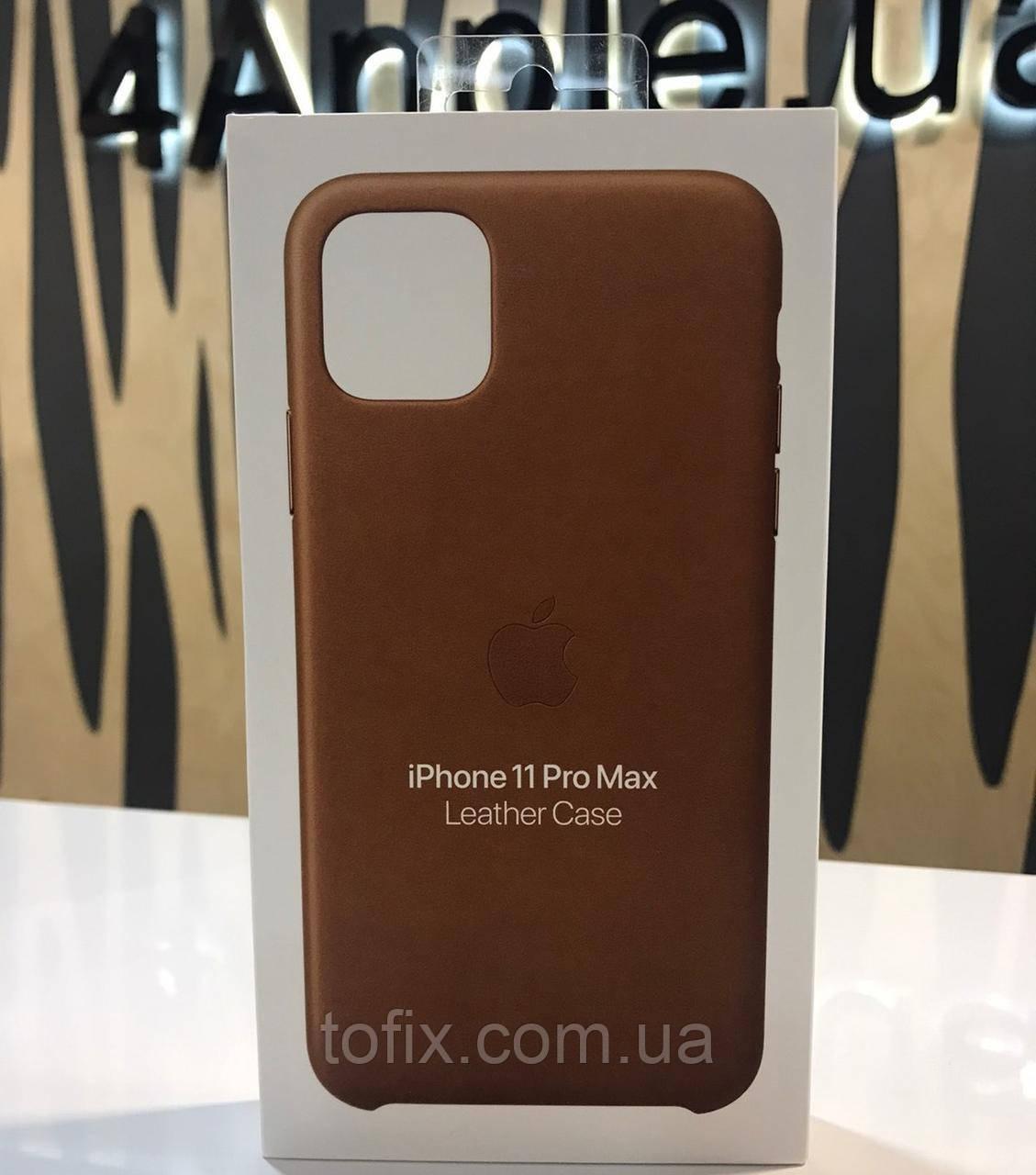 Чехол Apple Leather Case для iPhone 11 Pro Max - Saddle Brown (MWOD2ZM/A)