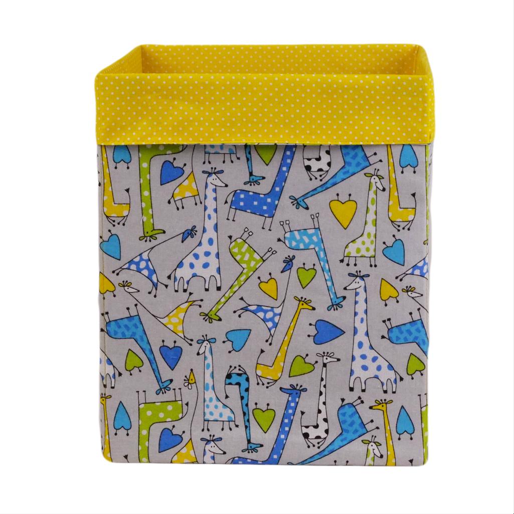 Скринька для зберігання, 25*25*30 см, (бавовна), з відворотом (жирафчики/горох на жовтому)