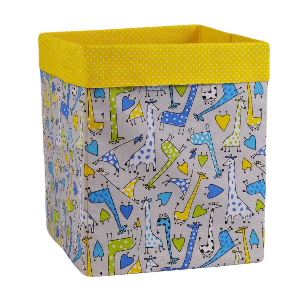 Скринька ( коробка ) для зберігання, 25*25*30 см, (бавовна), з відворотом (жирафчики/горох на жовтому)