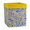 Скринька для зберігання, 25*25*30 см, (бавовна), з відворотом (жирафчики/горох на жовтому), фото 2