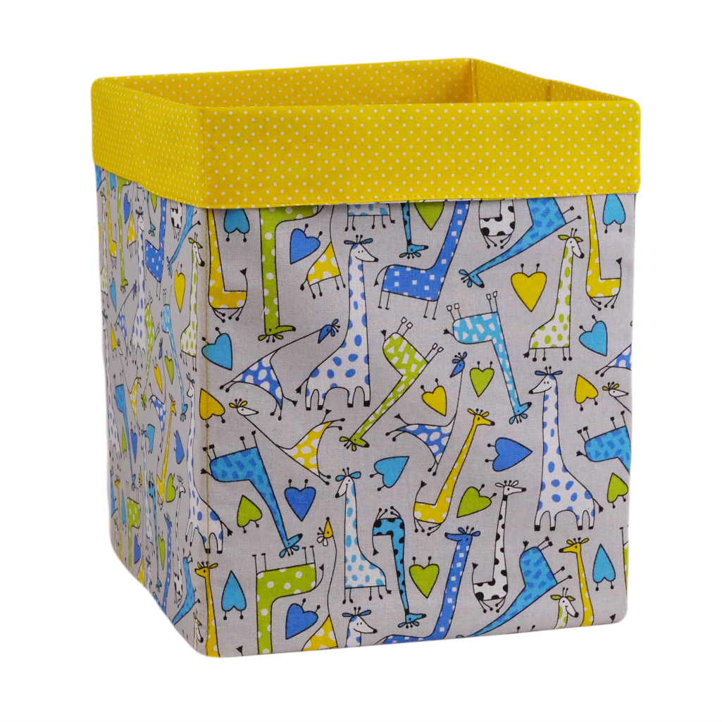 Ящик (коробка) для хранения, 25 * 25 * 30см, (хлопок), с отворотом (Жирафчик / горох на желтом)