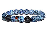 Браслет из натуральных камней Агат Кракле MS Bracelet Nightwolf Dragon Agate 939msb Синий 19 размер