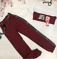 Стильный костюм для девочки (футболка+ штаны) Размер 134,140