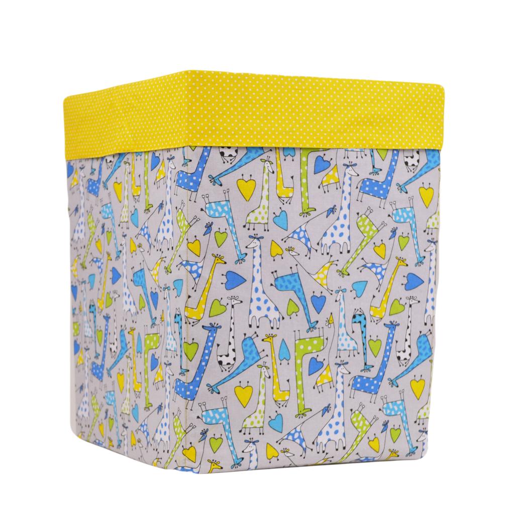 Ящик (коробка) для хранения, 30 * 30 * 40см, (хлопок), с отворотом (жирафчики/ горох на желтом)