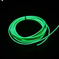 Зеленая Холодный неон, Неоновая лента, длинна 5м. Декоративная подсветка, украшение интерьера. 3В, 5В,12В