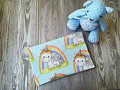 Наволочка единорог и радуга на голубом фоне с запахом, на детскую подушку  60 *40 см, 100% хлопок