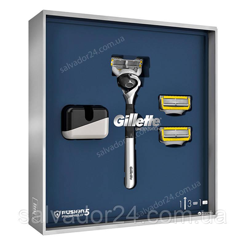 Подарочный набор Gillette Fusion5 ProShield Chill Хромированный станок для бритья Gillette Fusion5 ProShield