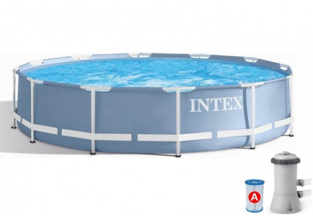 Каркасний басейн IINTEX 26712 Prism Frame Pool (366 x 76 див.) + насос-фільтр