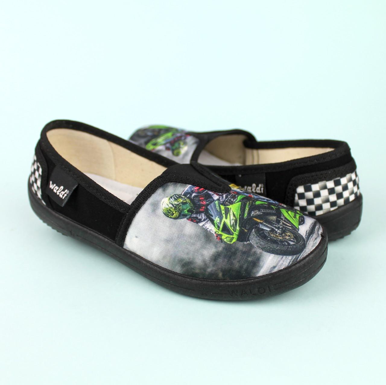 Детские текстильные туфли тапочки Еспадрильи мото черные тм Waldi размер 27,28,30
