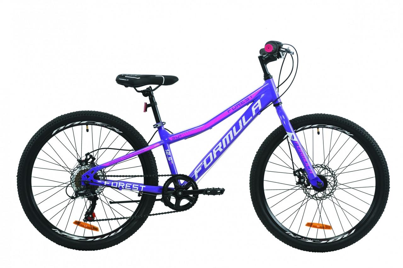 """Велосипед 24"""" Formula FOREST DD 2020 (фиолетово-белый с малиновым)"""
