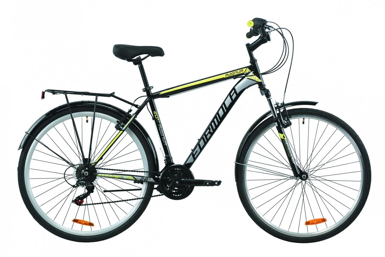 """Велосипед 28"""" Formula MAGNUM 2020 (черно-серый с желтым)"""