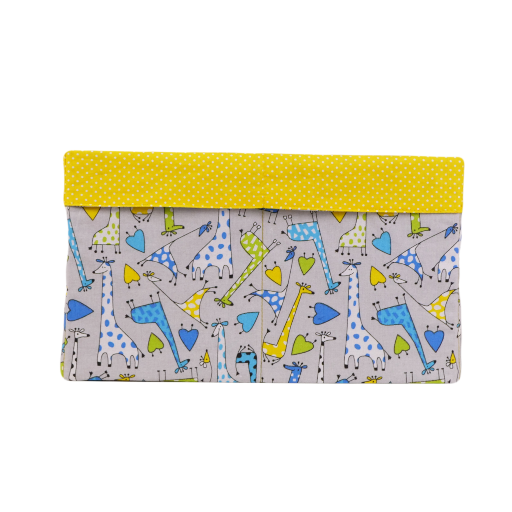 Ящик (коробка) для хранения, 25 * 35 * 20см, (хлопок), с отворотом (Жирафчики / горох на желтом)