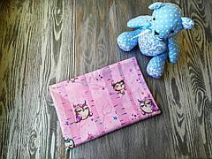 Наволочка совы на розовом фоне с запахом, на детскую подушку  60 *40 см, 100% хлопок