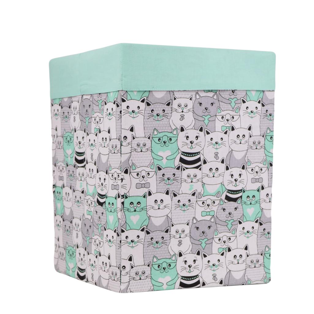 Ящик (коробка) для хранения, 30 * 30 * 40см, (хлопок), с отворотом (котики в кино мята / мята)