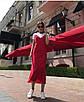 Шикарное шелковое платье комбинация миди на бретелях в бельевом стиле красное, фото 6