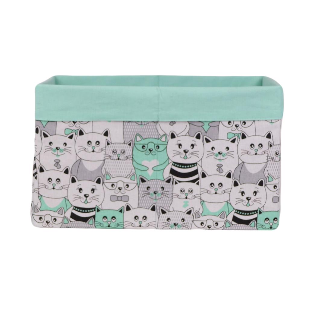 Скринька для зберігання, 25*35*20 см, (бавовна), з відворотом (котики в кіно мята/мята)