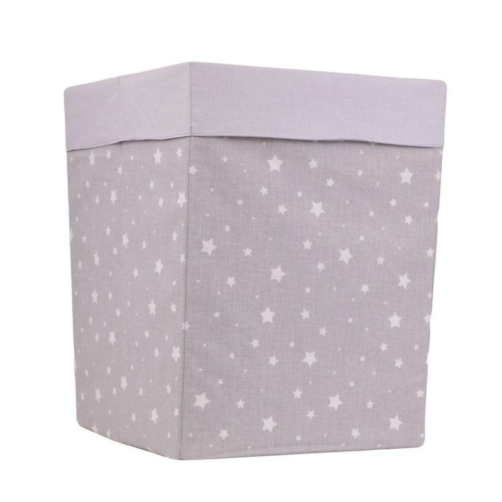 Скринька  для зберігання, 25*25*30 см, (бавовна), з відворотом (зірочки різних розмірів на сірому/сірий)