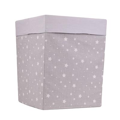 Ящик(коробка) для хранения, 25 * 25 * 30см, (хлопок), с отворотом (звездочки разных размеров на сером / серый)