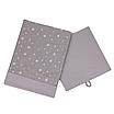 Скринька  для зберігання, 25*25*30 см, (бавовна), з відворотом (зірочки різних розмірів на сірому/сірий), фото 2