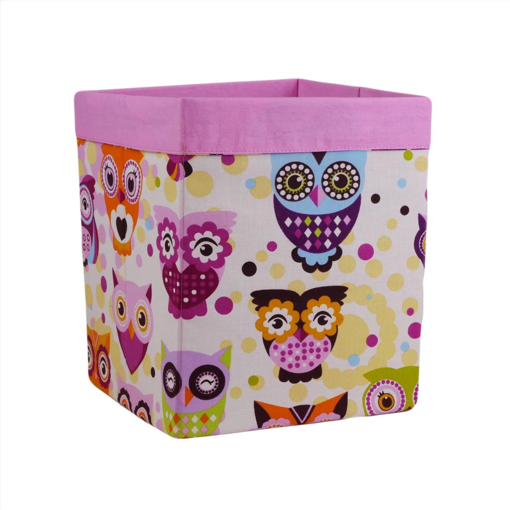 Ящик (коробка) для хранения, 25 * 25 * 30см, (хлопок), с отворотом (Сказочные совы розовые / розовый)