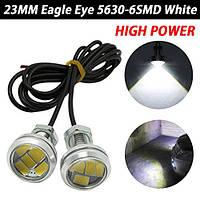 Точечные дневные ходовые огни 4Вт 6Led 5630 200LM 23mm ДХО орлиный глаз Стальной
