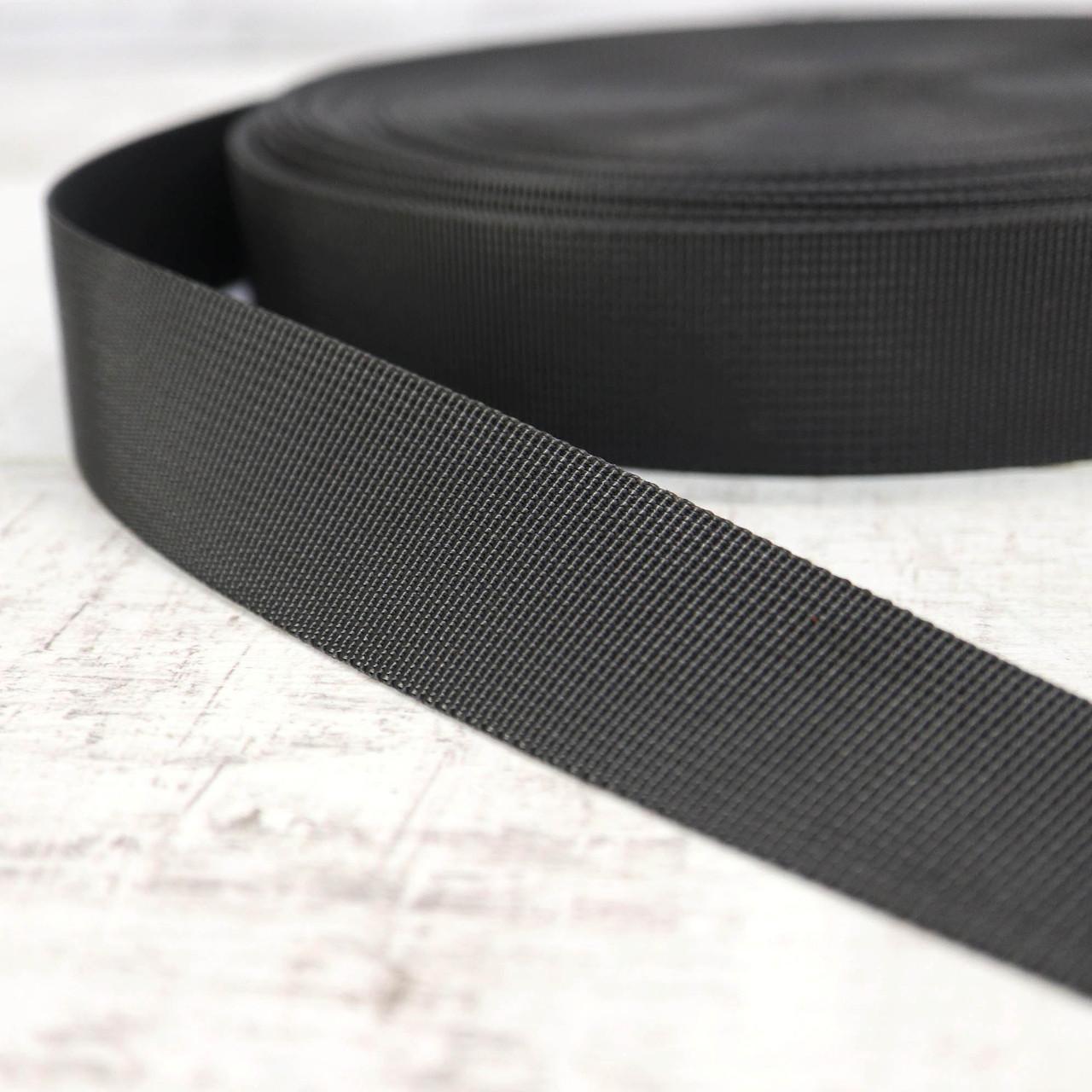 Ременная лента 30 мм репс черная для сумок a5332 (15 м.)